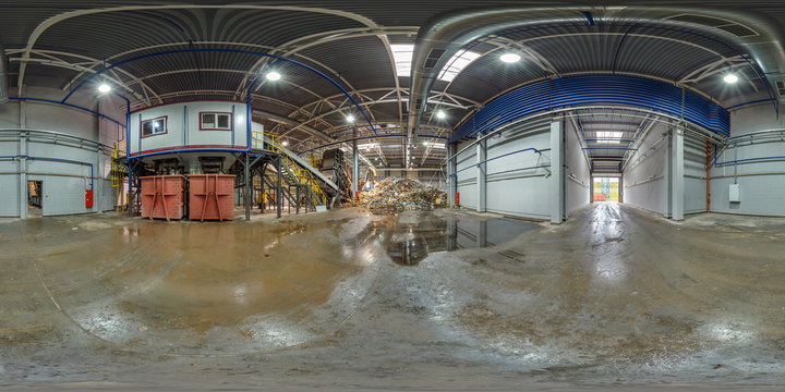 Panorama in 360 angle view in modern waste hazardous recycling plant and storage, trash sorting. Full 360 by 180 degrees panorama in equirectangular spherical projection, VR content