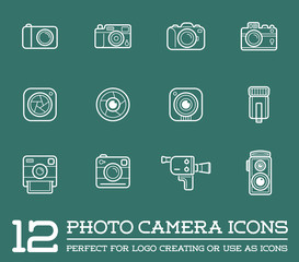 Set of Raster Photo or Camera Elements and Video Camera Signs Illustration can be used as Logo or Icon in premium quality