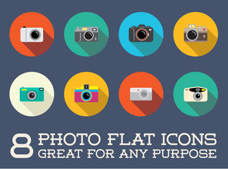 Set of Raster Photo Camera Photography Elements and Video Camera Icons Illustration can be used as Logo or Icon in premium quality Flat Icons Style