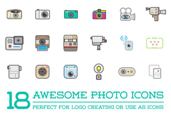 Set of Raster Photo Camera Photography Elements and Video Camera Icons Illustration can be used as Logo or Icon in premium quality