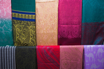 Traditional arabic shawls on an arabic market