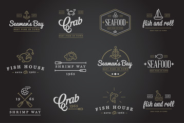 Set of Raster Sea Food Elements and Sea Signs Illustration can be used as Logo or Icon in premium quality