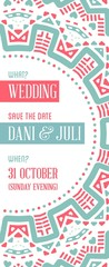 Raster Design Awesome Wedding Invitation Template with Mandala or Doodles Theme. Ideal for Save The Date, Christmas Eve, Mothers Day, Valentines Day, Birthday cards, Invitations or Baby Shower