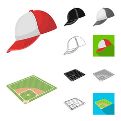 Baseball and attributes cartoon,black,flat,monochrome,outline icons in set collection for design.Baseball player and equipment vector symbol stock web illustration.