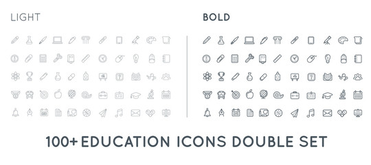 Set of Thin and Bold Raster Education Icons Illustration can be used as Logo or Icon in premium quality