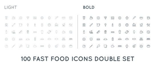 Set of Thin and Bold Raster Fastfood Fast Food Elements Icons and Equipment as Illustration can be used as Logo or Icon in premium quality