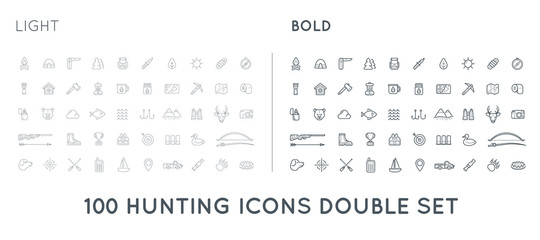Set of Thin and Bold Raster Hunting Camping Sport Elements Illustration can be used as Logo or Icon in premium quality