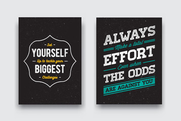 Set of Raster Grunge Concept with Inspiration Phrase for Poster or T-shirt. Creative Motivation Quote Collection.