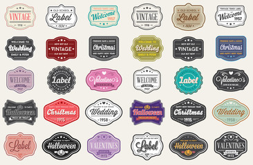 Raster Set of Vintage Retro Styled Premium Design Labels