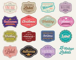 Raster Set of Vintage Retro Styled Premium Design Labels