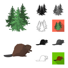 Country Canada cartoon,black,flat,monochrome,outline icons in set collection for design. Canada and landmark vector symbol stock web illustration.