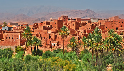 Old berber architecture near the city of Tinghir, Morocco