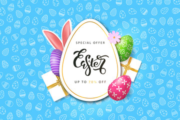 Vector realistic isolated poster for Easter sale with eggs, bunny ear and gifts for decoration and covering on the blue ornamental background. Concept of Happy Easter.