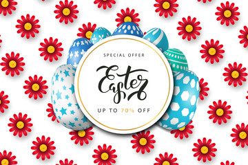 Vector realistic isolated poster for Easter sale with eggs for decoration and covering on the white background with flowers. Concept of Happy Easter.