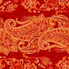 Paisley Floral oriental ethnic Pattern. Seamless Arabic Ornament. ndian fabric pattern