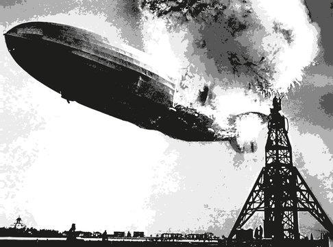 dirigeable - catastrophe - accident - zeppelin - aviation - explosion - incendie - crash - aérienne