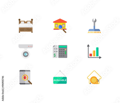 Building icons set  Price calculation and building icons with house