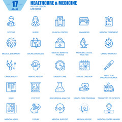 Thin line healthcare and medicine, hospital services icons set for website and mobile site and apps. Contains such Icons as Doctor, Nurse. 48x48 Pixel Perfect. Editable Stroke. Vector illustration.