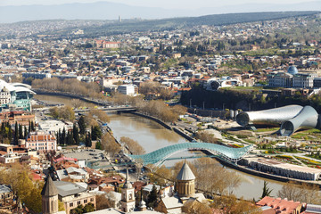 Peace Bridge in Tbilisi during the day