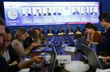 Russia's Central Election Commission head Pamfilova attends a news conference with the commission's members after the end of the voting in the presidential election, in Moscow