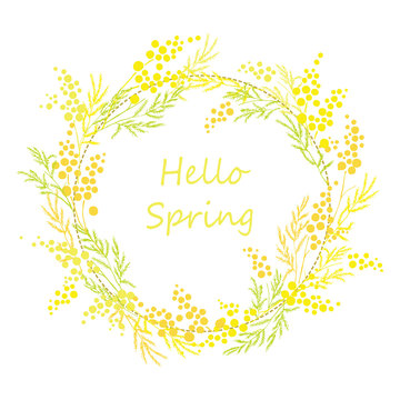 Yellow mimosa, flowers of yellow spots, splashes. Spring wreath of the brightest yellow flowers. Hello Spring