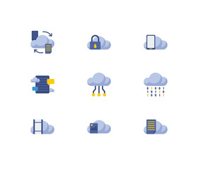 Cloud service icons set with cloud code, cloud networking and blog storage. Set of cloud service icons also including telephone sign for your web app logo UI design.