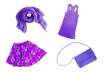 collage of fashionable lilac-lilac-violet summer-spring female clothes and accessories isolated on white background. View from above.
