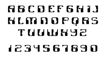 English font upper case letters. Logo - human faces of cyborg robots, for computer theme, science etc, retro style.