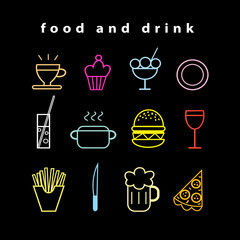 Set of vector food and drink icons