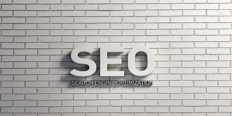 SEO Word in White Brick Wall. 3D Rendering illustration