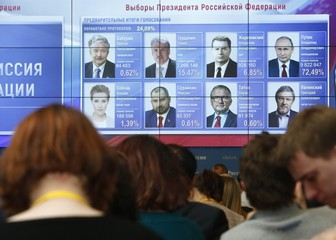 Journalists watch a screen showing preliminary results of the presidential election, at the headquarters of Russia's Central Election Commission in Moscow