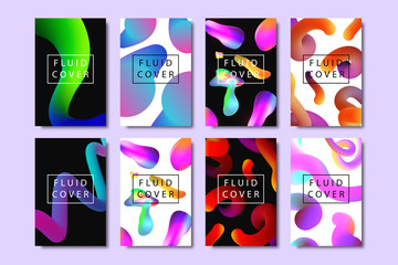 Vector set of realistic isolated brochures with geometric gradient fluid liquid shapes for decoration and covering on the bright background.