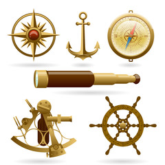 Vector marine navigation icon set isolated on white background. Windrose, anchor, compass and other objects.