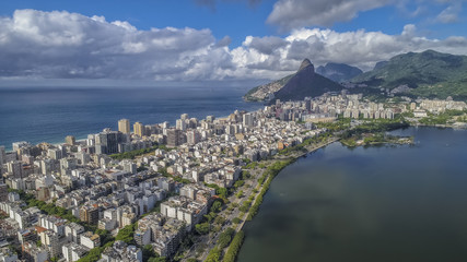 Aerial view over Ipanema Beach in Rio de Janeiro with water reflection, Brazil