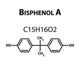Bisphenol A. Chemical formula. Infographics. Vector illustration on isolated background.