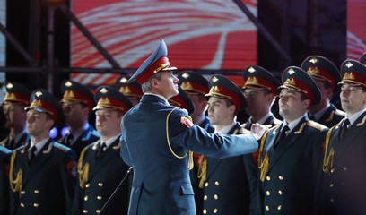 The Alexandrov Ensemble, formerly known as the Red Army Choir performs during a rally and concert marking the fourth anniversary of Russia's annexation of the Crimea region,, at Manezhnaya Square in central Moscow