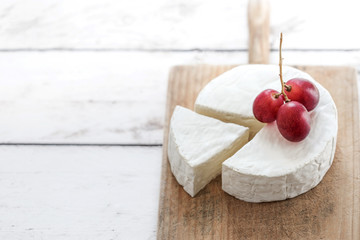 Camembert cheese close up..