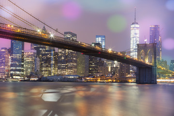 Printed kitchen splashbacks Brooklyn Bridge View of Brooklyn Bridge by night, NYC.