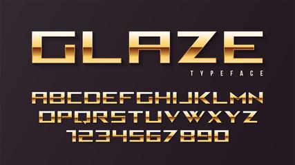 Glaze vector shiny golden display font design, alphabet, charact