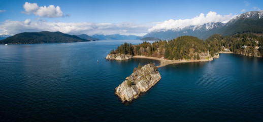 Aerial panoramic view of Whytecliff Park during a vibrant sunny day. Taken in Horseshoe Bay, West Vancouver, British Columbia, Canada. Wall mural