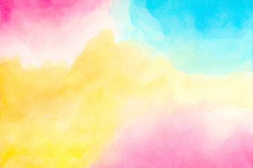 Abstract colorful watercolor for background. Handmade art painting.