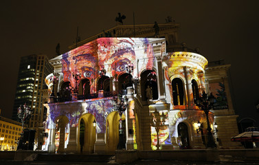 The Old Opera House is illuminated during the Luminale, light and building event in Frankfurt
