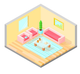 Living room isometric design with table, armchair, sofa, plant, painting, and carpet. Vector illustration.