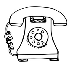 Sketch of retro phone isolated on white background. Vector illustration.