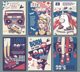 Memphis cards with geometric elements and retro illustrations. Set of vector banners in trendy 80s-90s memphis style. cover design, advertising, poster and greeting card. graphic tee and printed tee