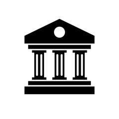 Bank building icon. Black, minimalist icon isolated on white background. Bank simple silhouette. Web site page and mobile app design vector element.