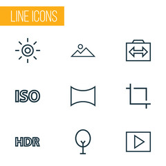 Image icons line style set with photography, multimedia, center focus and other panorama  elements. Isolated vector illustration image icons.