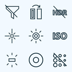 Picture icons line style set with wb iridescent, dartboard, brightness and other filtration