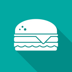 Burger icon with long shadow. Flat design style. Hamburger simple silhouette. Modern, minimalist icon in stylish colors. Web site page and mobile app design vector element.