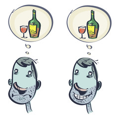 Dream of an alcoholic. Set: two pictures. Vector illustration isolated on white background